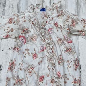 Vintage 60s 70s Floral Ruffle Dressing Gown Robe